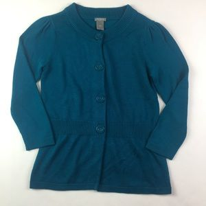 Ann Taylor Small Knit Sweater Button Blue.